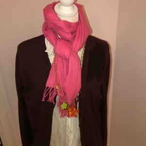 Warm Brown Cardigan with Scarf
